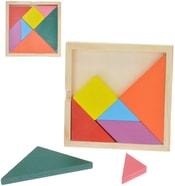 Hra hlavolam dřevěný 11x11cm geometrické tvary