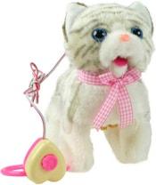 Kocička chodící a mňoukající na kabel na baterie se zvukem