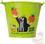 KRTEK Kyblík dětský kovový zelený s obrázkem Krteček a jahody na písek