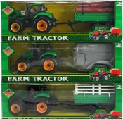Traktor plastový 29cm s přívěsem v krabici