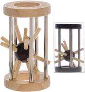 Hlavolam ježek v kleci 8 cm kov + dřevo