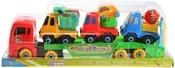 Kamion šroubovací 39cm set se 3 auty a nářadím k sestavení plast v sáčku