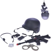Policejní samopal 38cm na setrvačník set 7ks s přilbou a doplňky v síťce