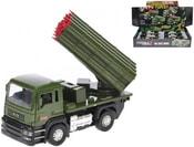Auto vojenské 13cm s raketometem kov zpětný chod na baterie Světlo Zvuk