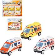 Auto ambulance 8cm kovové na zpětný nátah sanitka v krabičce