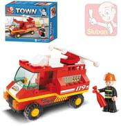 Stavebnice TOWN malý hasičský vůz set 74 dílků + 1 figurka plast