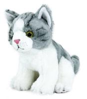 Plyšová kočka šedo-bílá sedící, 18 cm