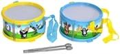 KRTEK Dětský plechový bubínek set s paličkami 18x10cm 2 barvy HUDEBNÍ NÁSTROJE