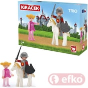 IGRÁČEK TRIO Princezna, rytíř a bílý kůň set v krabičce