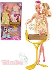 Panenka Steffi těhotná princezna 29cm zlatý set s kolébkou a miminkem