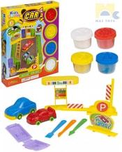 Modelína dětská auta kreativní set 4 kelímky s nástroji a formičkami