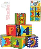 Baby soft kostky měkké set 6ks s obrázky, čísly a písmenky pro miminko