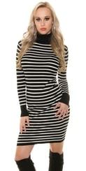 Černobílé dlouhé šaty in-sat1123bl