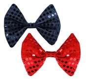 Motýlek 2 ks s flitry, černý a červený