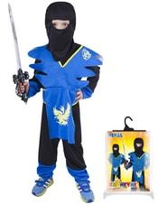 Karnevalový kostým pro děti NINJA modro-žlutý, vel. M