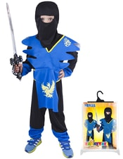 Karnevalový kostým pro děti NINJA modro-žlutý, vel. S