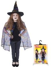 Kostým pro děti čarodějnice/halloween - plášť + klobouk