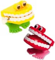 Zuby natahovací žertovné 4x4cm skákací na klíček plast