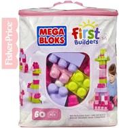 MEGA BLOKS Stavebnice 60 dílků v plastové tašce pro holky
