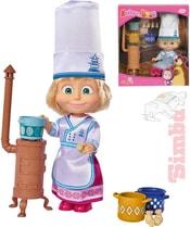 Panenka Máša a medvěd kuchařka 12cm set s doplňky