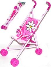 Kočárek růžový pro panenku miminko golfové hole s kvítkem v sáčku