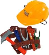 Dětské plastové nářadí pracovní set 7ks s helmou a opaskem