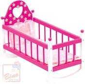 Dřevěná kolébka s peřinkami pro panenku miminko růžová