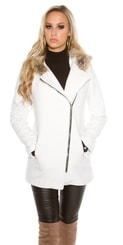 Dámský kabát s kapucí in-bu1063wh