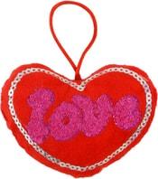 Srdce love 10cm na pověšení s poutkem