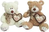 Medvídek Srdcík hnědý 23cm se srdcem a mašlí 2 barvy