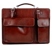 Moderní hnědá pánská aktovková taška z pravé italské kůže DIVA