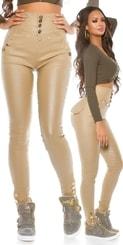Lesklé kalhoty s vysokým pasem in-ka1127be