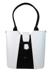 Bílo-černá elegantní kabelka přes rameno S680