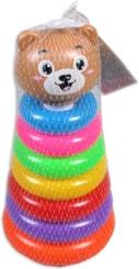 Medvídek baby navlékačka plastová s kroužky v síťce pro miminko