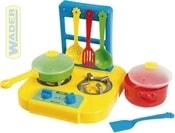 Baby sporák plynový s nádobím dětský kuchyňský set 9ks plast 24000