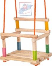 Houpačka premium dětská masiv natur dřevěná s ohrádkou