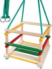 Houpačka dětská závěsná dřevěná barevná s ohrádkou