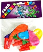 Barevné balonky nafukovací s píšťalkou sada 7ks v sáčku